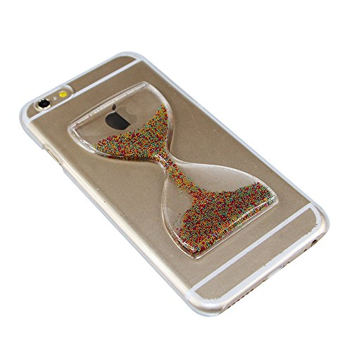 iPhone 6S Plus Coque,iPhone 6 Plus Coque,iPhone 6S Plus Case,EMAXELERS Sablier Série dur Plastique Transparent Clair Liquide Glitter Bling Sparkles Cute Rose Sablier Design Strass Cas Cover Coquille 3 Hourglass Series 11