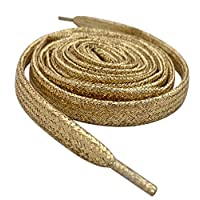 "80cm/31"" Long Gold Flat Metallic Sparkle Glitter Smart Laces® Shoe laces, Ideal Shoelaces for Kids Girls Clips Children & Womens Converse, Nike, Adidas, Vans Trainer"