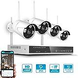 OWSOO Sicherheits überwachungssystem 8CH NVR + 4 Kameras Drahtloses NVR-Kit Nachtsicht Bewegungserkennung 2MP 1080P HD WiFi Überwachungskamera für den Heimgebrauch Monitor P2P Alarmauslöser