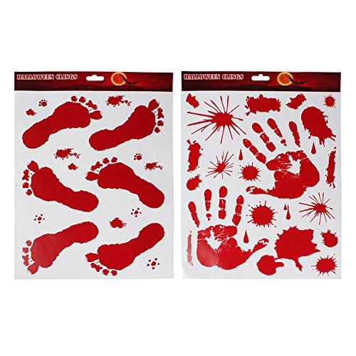 Brave Pioneer Halloween Horror Sticker Wandaufkleber Fenster Aufkleber Bonden Wall Tattoo Window Blutige Hände und Blutspritzer Scary (Hand und Schuhe)