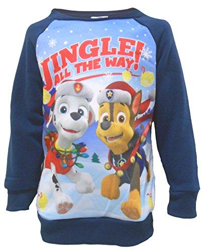 mpern alle den Weg Klaue PATROL Marshall & Chase festlich Weihnachten Sweatshirt - blau,weiß, rot, grün, 4/5 UK Child (Kinder-weihnachts-pj)