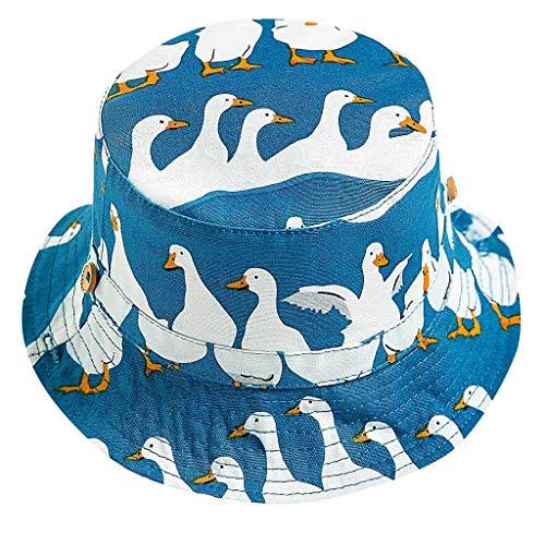 Unisex Kinder Custom HüTe Pwtchenty Sonnencreme Leinwand Kappe Uv Schutz 50+ Sonnenhut Sun Hat with Neck Protection Sommer/Herbst/Winter Fischenhut (48, Blau) -