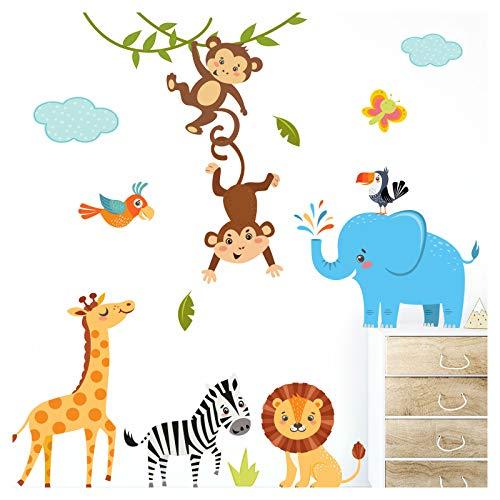 Little Deco Wandaufkleber Kinderzimmer Deko Jungen Dschungeltiere I 2 A4 Bögen I Wandtattoo Wandsticker Babyzimmer Elefant Tiere Dschungel Affen DL214-3 (Dschungel Wandtattoos Kinderzimmer)