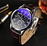 JACKY Mens Faux Leather Blue Ray Glass Quartz Analog Watches