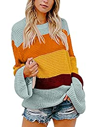 ECOWISH Damen Herbst Trägerlos Lose Oversize Langarm Top Sweatshirt  Gestreift Pullover 3ee5236fd1