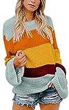 ECOWISH Damen Herbst Trägerlos Lose Oversize Langarm Top Sweatshirt Gestreift Pullover 047Hellblau XL