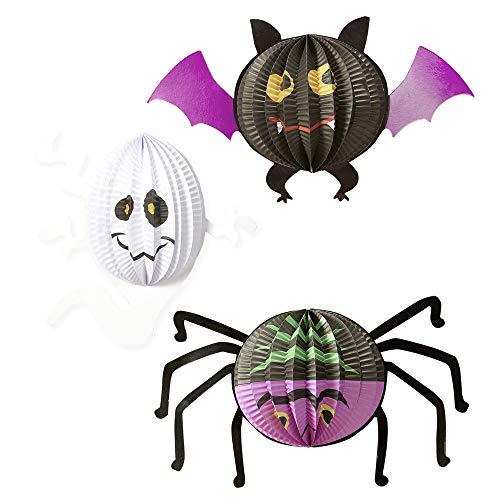 WIDMANN 08166 Lampionset Halloween 3er, Unisex- Erwachsene, Mehrfarbig