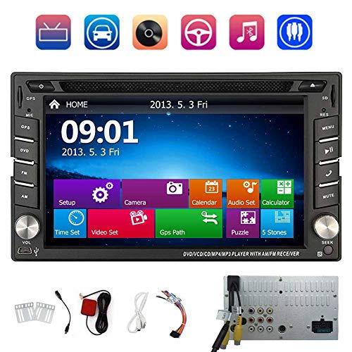 EINCAR Double 2 Autoradio GPS-Navigation Auto Stereo In Dash 2din 6,2-Zoll-HD-Digital-Screen-Auto-CD-DVD-MP5 Head Unit Auto Audio FM/AM-Radio mit USB/SD Eingebautes Mikrofon Bluetooth din