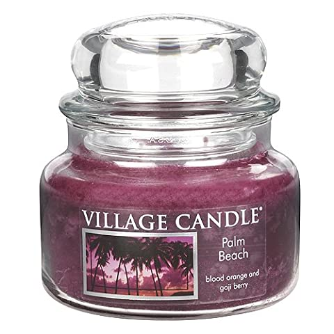 Village Candle Palm Beach Glass Jar, Dark Pink, Small