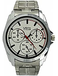 YOUTH CLUB CHRONOGRAPH PATTERN ANALOG WHITE DIAL WATCH FOR BOYS