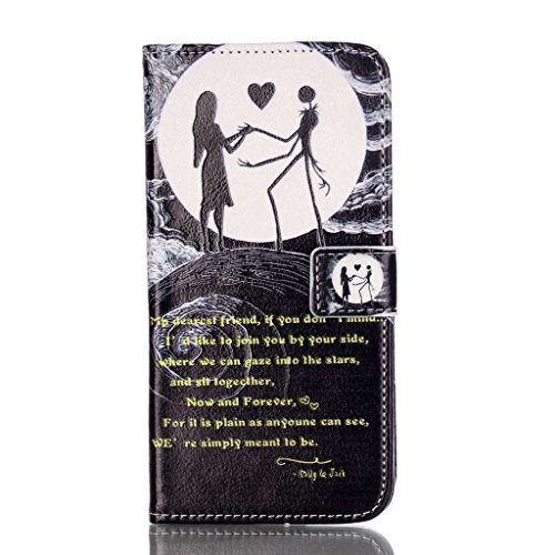 PowerQ [ Smiling Cat - per IPhone 6 6S IPhone6S IPhone6 ] modello colorato caso di serie PU Artificia-Cuoio Holster con Bella Abbastanza patrón Imprimir Cellulare caso della copertura cellulare proteg Black moon Couple