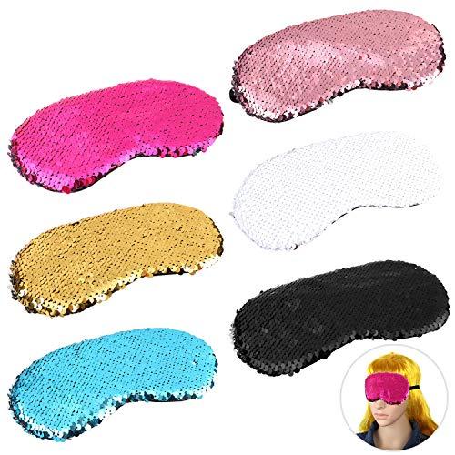 MWOOT Schlafmaske Damen Mädchen, 6 Stk Paillette Augenmaske für Übernachtungsparty