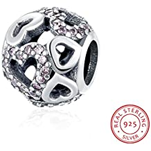 HMILYDYK plata de ley Love Corazón Swarovski elemento cristal charms Beads Fit Pandora Pulsera
