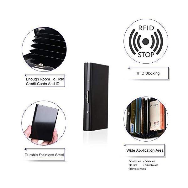 Vicloon Porta Biglietti, Porta Carte di Credito Anti RFID e NFC in Acciaio Inossidabile per Uomo/Donna, Eleganti… 4 spesavip