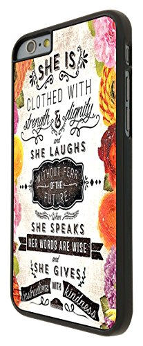215 - Floral Shabby Chic Christian quotas She Is clothed dans Strength and Dignity and She Laughs Without Fear Coque iPhone 6 6S 4.7 Design Fashion Trend Case Back Cover Métal et Plasti