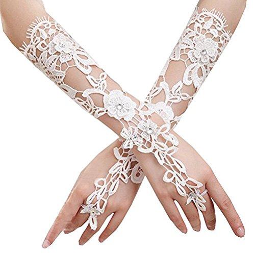 OULII Braut Handschuhe lange Spitzenhandschuhe Golves formelle Bankett für Hochzeitsfeier