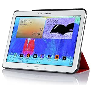 IVSO Slim Smart Cover Housse pour Samsung Galaxy Note 10.1 2014 Edition Tablette with Auto Sleep/Wake Function (Rouge)