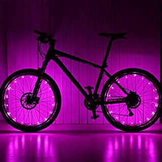 Ailiebhaus Bike Wheel Light Cycling Spoke Waterproof Light with 20 LED Pink