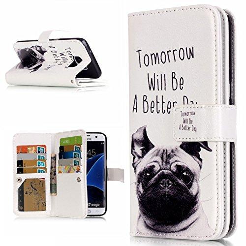 Preisvergleich Produktbild S7 edge Hülle, COWX PU leder Hülle für Samsung Galaxy S7 edge (5.5 zoll) Ledertasche Schutzhülle Case, Galaxy S7 edge Hülle, Tasche Standfunktion Brieftasche für Galaxy S7 edge Taschen Schalen
