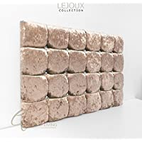 Lejoux™ Collection Super Cube Luxury Designer Headboard Bed Head in Crushed Velvet in Single Double King (Champagne, 4ft6 (Double) 24 Inches High)