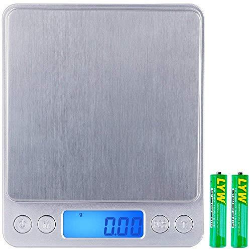 Especificación:   Dimensiones del producto: 16 x 13 x 3,3 cm;  Peso: 261.5 g  Color: Argénteo  Material: Acero inoxidable y ABS. Paquete incluye:  1 X Bandeja grande  1 X Bandeja pequeña  1 x Manual de instrucción  Báscula de cocina digital de 1 x 5...