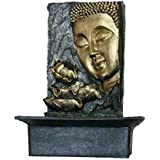 Petrichor Elegant Gautam Buddha Side Face with Lotus Indoor Water Fountain for Home Office Decoration and Gifting (Black and Golden, 40 cm)