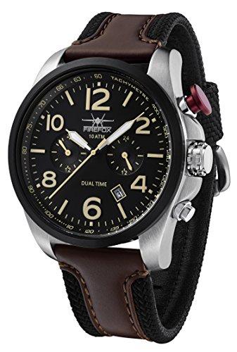 FIREFOX Horizon FFS305-102L Dual Time VD31 Herrenuhr Edelstahl Armbanduhr 10 ATM wasserdicht zweite Zeitzone Lederarmband mit Dornschließe Zifferblatt schwarz