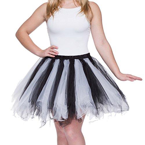 Dancina Damen Petticoat 50er Jahre Vintage Tutu Tüllrock [Sticker XXL] Weiß/Schwarz Gr. ()