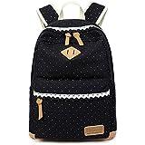 Lienzo Mochila todym Vintage lunares dulce encaje de las mujeres y las niñas mochila de peso ligero al aire libre ocio mochila mochila escolar bolsa de viaje, negro