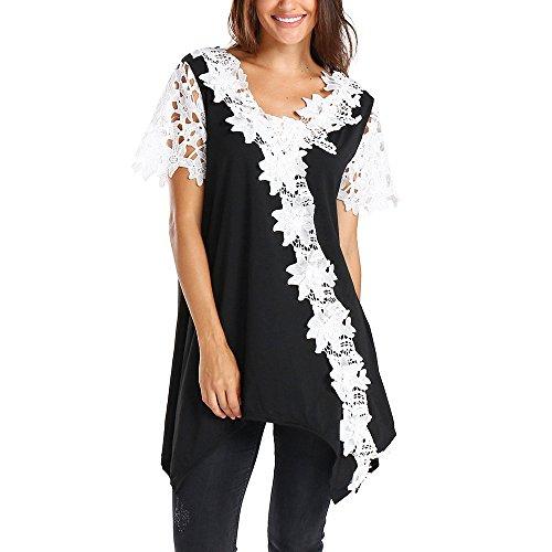 QUINTRA Frauen Casual Spitze Patchwork Kontrast Floral Lace Trim Tunika T-Shirt Bluse (Kontrast Trim Polo)