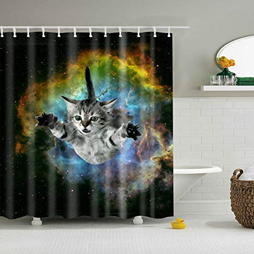 ZZ7379SL 1 weiße Katze mit gelben Augen, die im Himmel 3D Digitaldruck Duschvorhang 180 × 180CM + 12 Haken wasserdicht und schimmelresistent flattern -