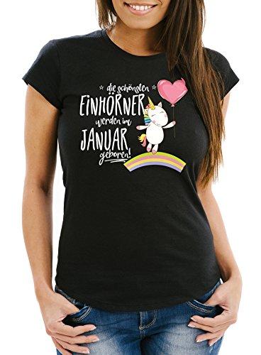 MoonWorks Damen T-Shirt die schönsten Einhörner Werden im Januar geboren Slim Fit Geschenk Geburtstag schwarz M
