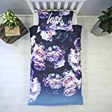 HYPE Duvet Cover Bedding Set | Purple Rose Design With Matching Pillow Cases | Hi Definition Print | 100% Cotton Super Soft Material (Single)