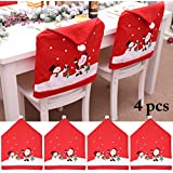 Outgeek Christmas Chair Cover Santa Snowman Printing Kitchen Chair Cover Christmas Decor