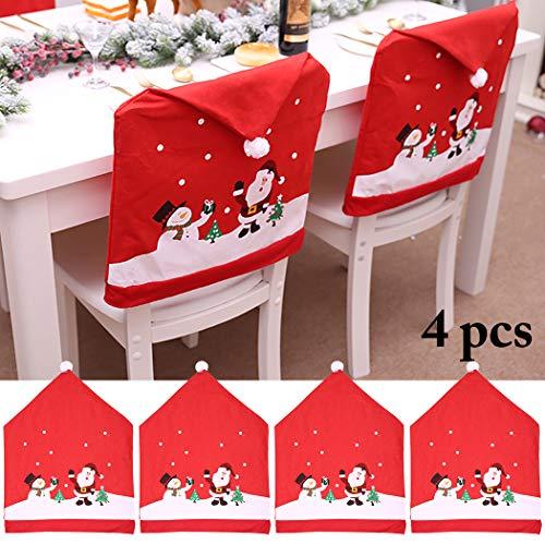 Outgeek Copertina Della Sedia Di Natale Coperta Della Sedia Da Cucina Di Santa Snowman Printing