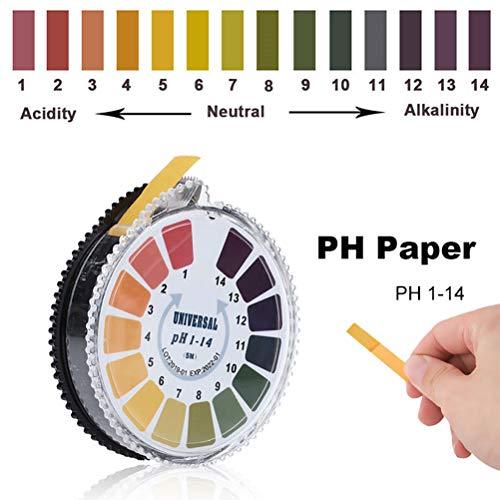 FMXYMC 5m 1-14 pH Alkaline Acid Indicator Meter Testpapierrolle für Wasser Urin Speichel Boden Lackmuspapier Testmessung