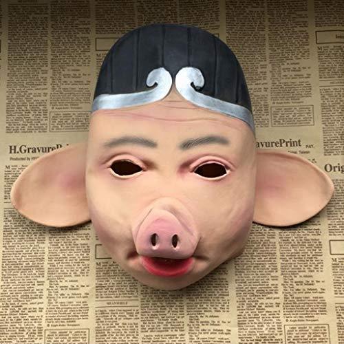 Xiaodu Mythische Schwein Acht Ring Maske Latex Schweinekopf Set Halloween Requisiten Masquerade ()