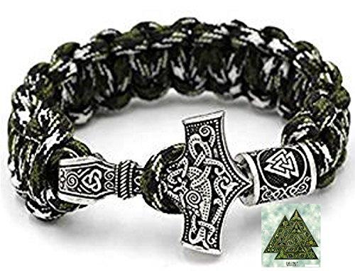 Militär Paracord Armband Buntes Grün camouflage Outdoor - Viking Wikinger Thor Hammer Antik Silber -100% Handarbeit -25 cm Umfang Mit Rune-Valknut Perlen (Gold-grünes T-shirt)