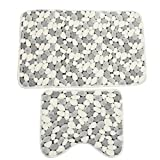 JJOnlineStore–2Stück weiche Baumwoll-Badvorleger, grau, weiß, Muster: Stein, rutschfest, waschbar