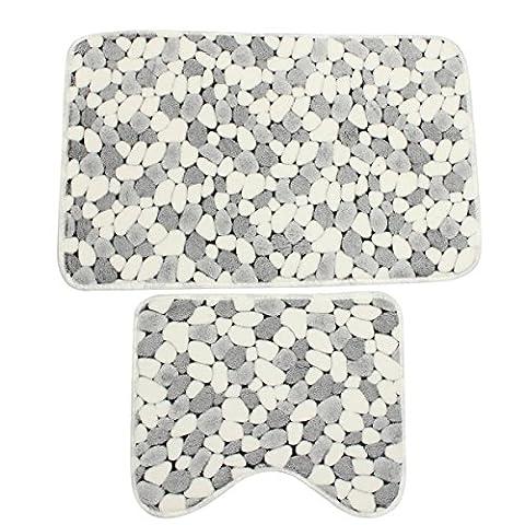 – Lot de 2en coton doux Noir Gris Blanc pierre de bain Tapis contour WC Tapis Sol antidérapant lavable en machine Sets