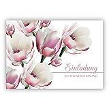 Edle leichte Einladungskarte mit üppigen Blüten: Einladung zu meiner Firmung