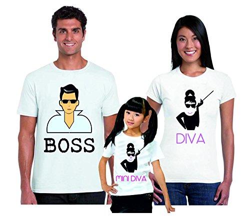 Puzzletee tris t-shirt famiglia padre, madre, figlia boss, diva, mini diva - festa del papa' - festa della mamma - magliette divertenti per tutta la famiglia - in cotone by