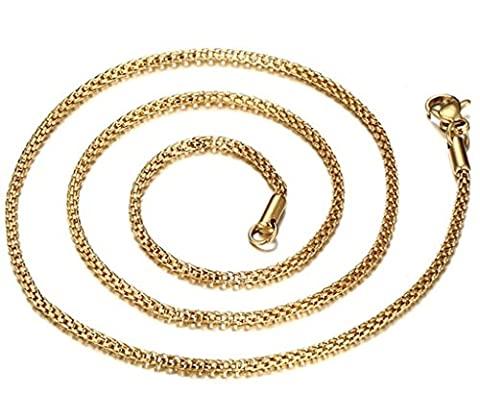 Aooaz Men Women Stainless Steel Chain Necklace Mesh Link Gold