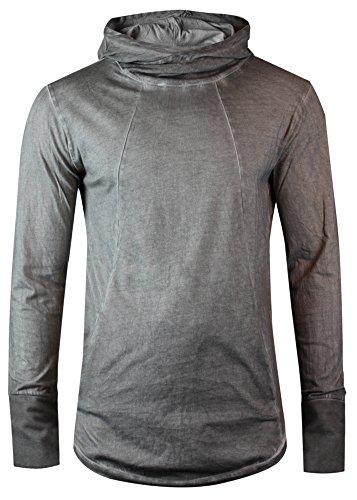 trueprodigy Casual Herren Marken Long Sleeve einfarbig Basic, Oberteil cool und stylisch mit Kapuze (Langarm & Slim Fit), Shirt für Männer in Farbe: Dunkelgrau 1063177-5203 Dark Grey