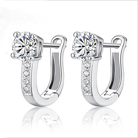 orecchini donna, DDLBiz® 1pair Bella elegante Silvering Nizza bianco delle pietre preziose delle donne orecchini a cerchio per donna