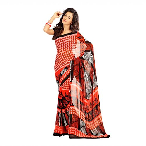 Shaktideal Dailywear light weight printed sarees orange and blue
