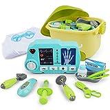 Arztkoffer für Kinder mit Arztmantel Imitation Spiele Kit Arzt mit Kleidung und Röntgengerät Set von 20 Stück mit Fall