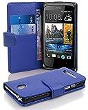 Cadorabo Hülle für HTC Desire 500 Hülle in KÖNIGS blau Handyhülle mit Kartenfach aus Struktriertem Kunstleder Case Cover Schutzhülle Etui Tasche Book Klapp Style Königs-Blau