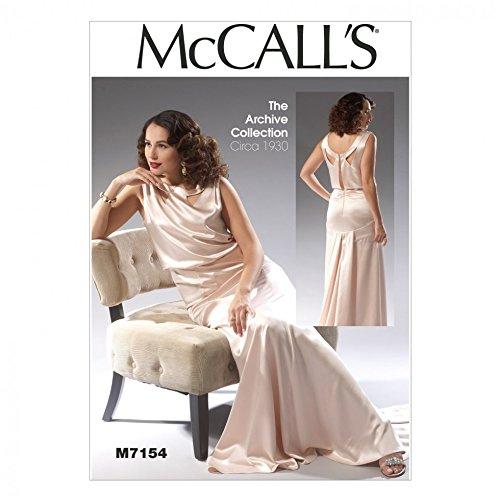 McCalls Mesdames 7154Patron de Couture Robe de Soirée Style vintage + sans Minerva Crafts Craft Guide