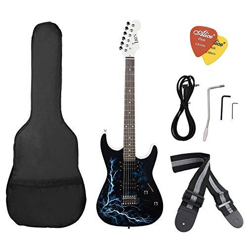 Preisvergleich Produktbild ammoon Doppel Tonabnehmer E-Gitarre Lindenholz Körper Palisander abkühlen Blitzschlag Schaffung mit Gig Bag Picks für Anfänger Noir+Blanc